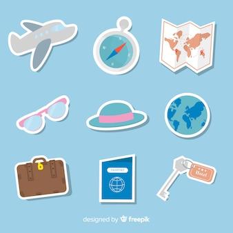 Коллекция стикеров flat travel