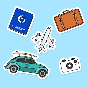Flat travel sticker collection