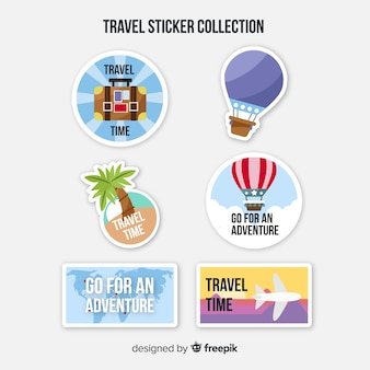 Flat travel sticker set