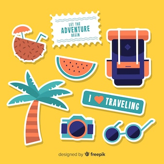 Flat travel sticker set