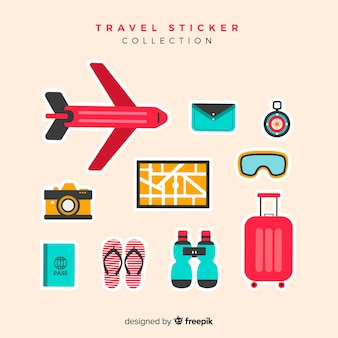플랫 여행 스티커 컬렉션