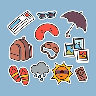 Flat travel stickers collection