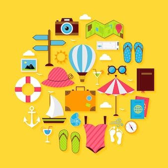 Flat travel summer icon circle shaped set. vector illustration of summer holidays objects with soft shadow