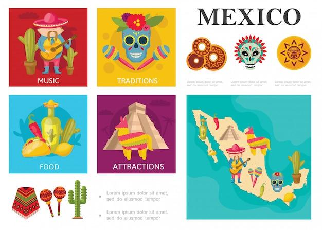 Концепция flat travel to mexico с традиционными мексиканскими блюдами, известными достопримечательностями, музыкальными и культурными традициями