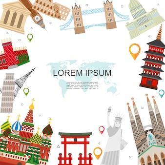 Modello di viaggio e turismo piatto