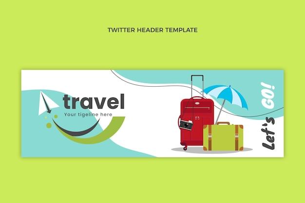 Flat travel twitter header template