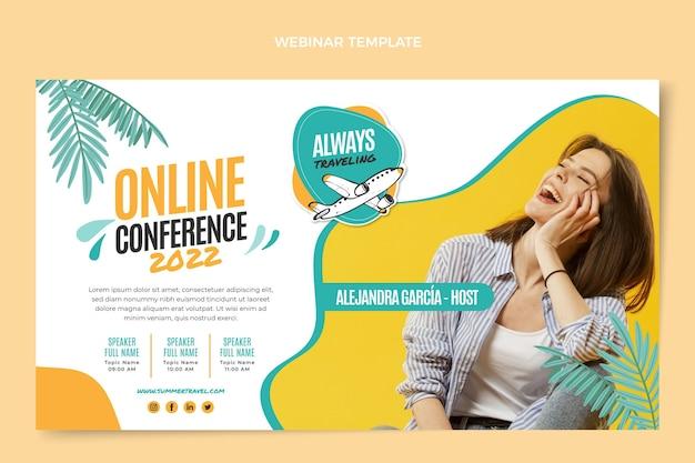 Плоский шаблон веб-семинара о путешествиях