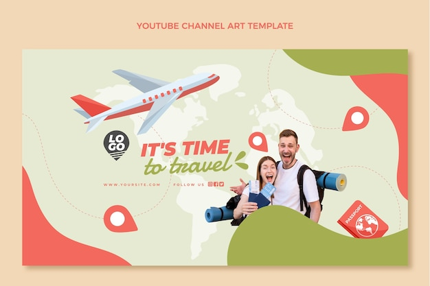 Flat travel youtube channel art template