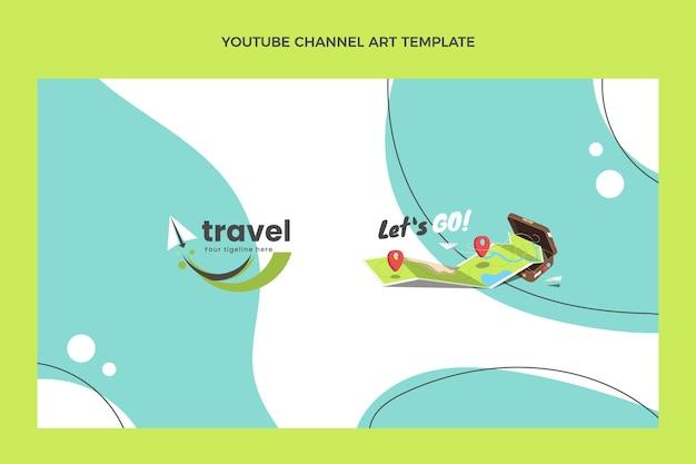 Modello di arte del canale youtube da viaggio piatto