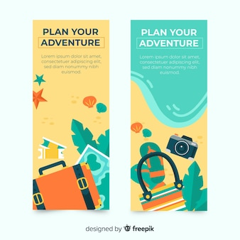 Flat traveling banner template