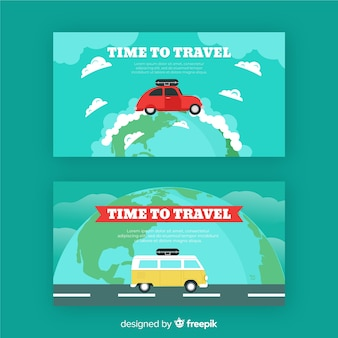 Flat traveling car banner template
