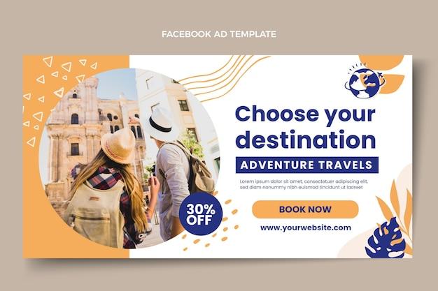 フラット旅行facebookテンプレート