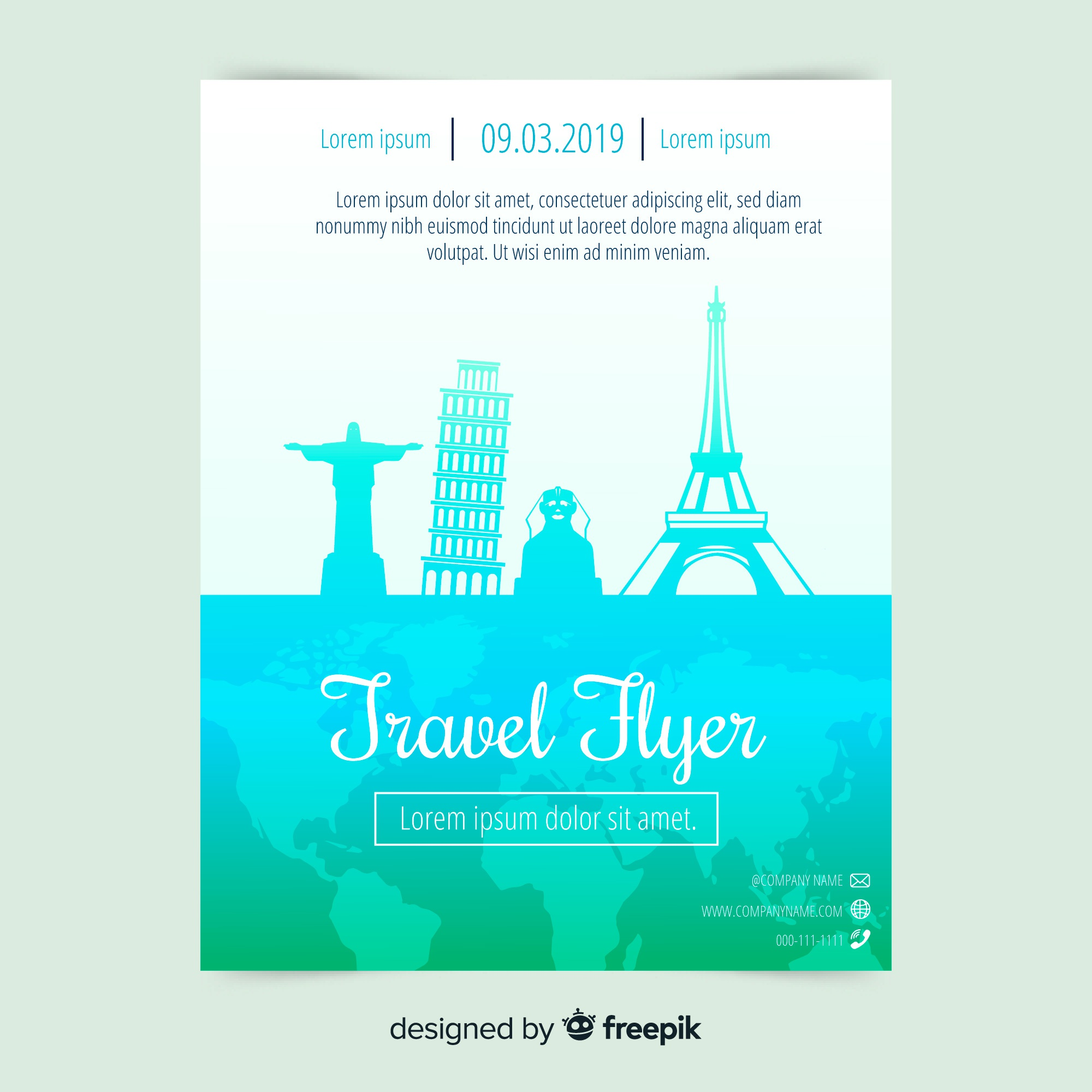 Flat travelling poster template