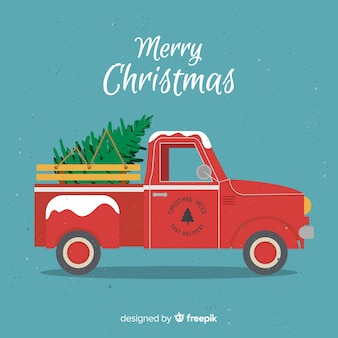 Flat tree delivery truck christmas background