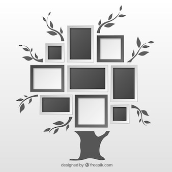 Flat tree with photo frames on the wall