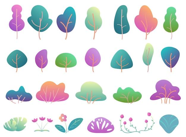 平らな木々や茂みにモダンなグラデーションフラットデザイン。ファンタジー色の公園の木とブッシュ