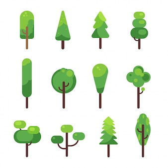 Flat trees icon collection.