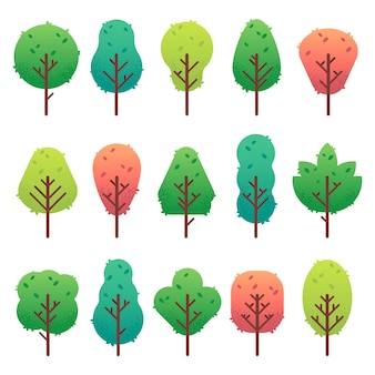 Flat trees set. garden tree trunk, bush and pine. nature green landscape isolated