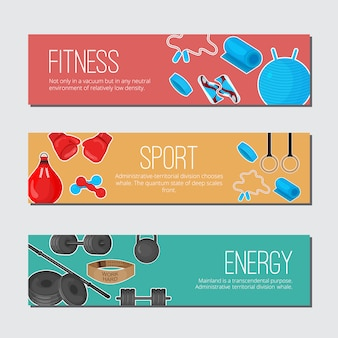 Flat trendy color banner with sport equipments elements set