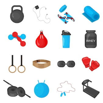 Flat trendy color icons set with sport equipments elements