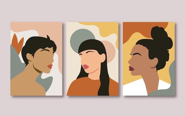 Коллекция обложек плоских модных портретов