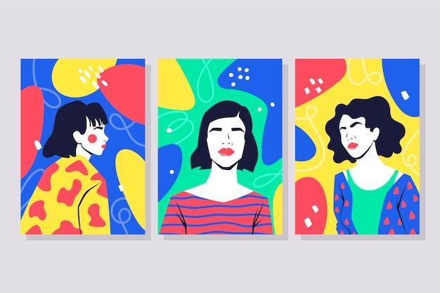 Плоские модные обложки портретов