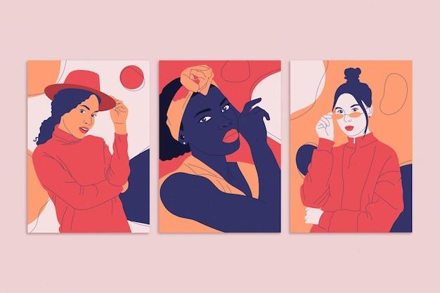 Flat trendy fashion portraits covers