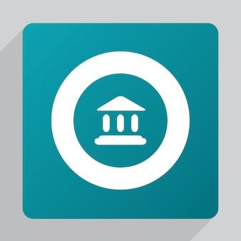Flat tribunal icon, white on green background