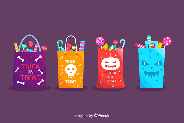 Flat trick or treat halloween bag collection