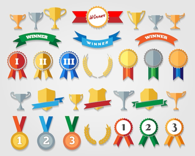 Flat trophy cup and award icons