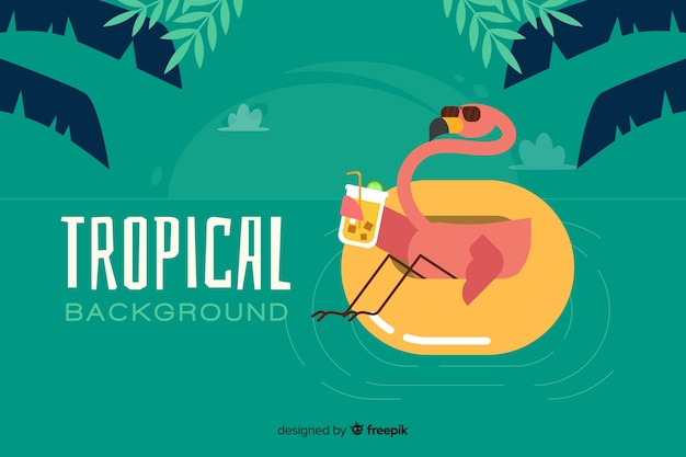 Flat tropical background with flamingo
