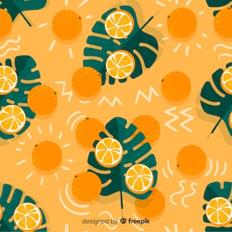 Flat tropical background with fruits