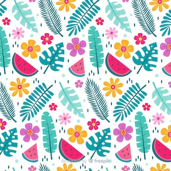 Flat tropical flower and leaves pattern