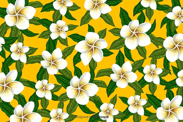 Flat tropical flower pattern background