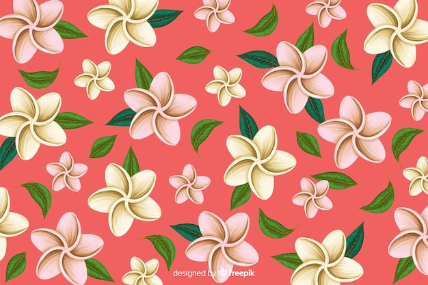 Flat tropical flower pattern background