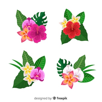 플랫 열 대 꽃과 잎
