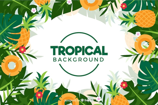 Flat tropical flowers background