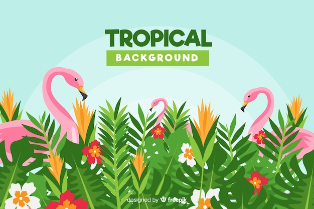 Flat tropical flowers and flamingos background