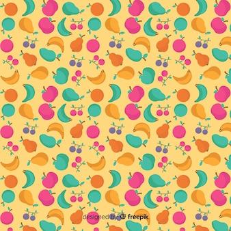 Flat tropical fruits pattern