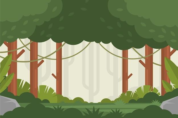 平らな熱帯のジャングルの背景