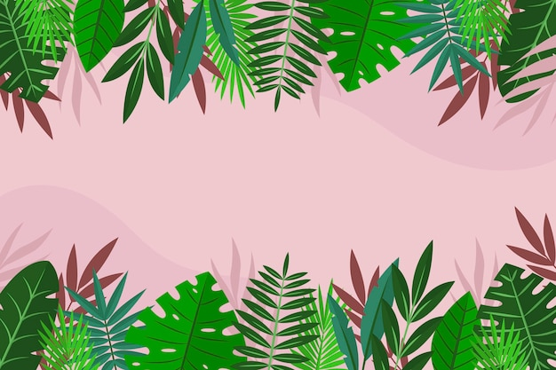 Flat tropical leaves background