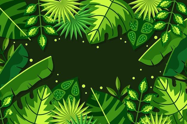 Sfondo di foglie tropicali piatte
