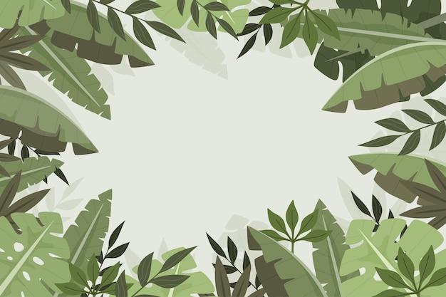 평평한 열 대 잎 배경