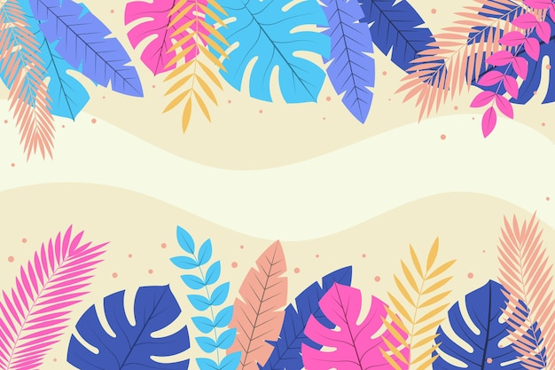 平らな熱帯の葉の背景