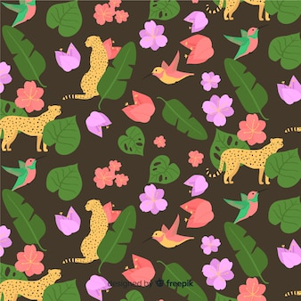 Flat tropical leaves and flowers background