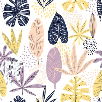 Flat tropical leaves seamless pattern