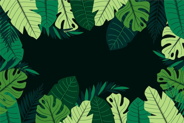 Flat tropical leaves summer background