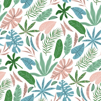 Flat tropical leaves vector seamless pattern