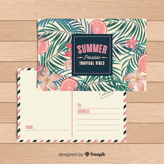 Flat tropical summer holiday postcard