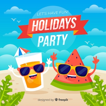 Flat tropical summer party background